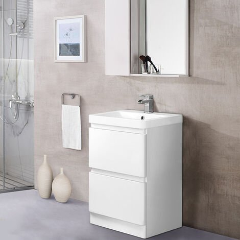 600mm Floor Standing 2 Drawer Vanity Unit Basin Storage Bathroom Furniture Gloss White
