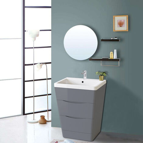 600mm Gloss Grey 2 Drawer Floor Standing Bathroom Cabinet Storage Furniture Vanity Sink Unit