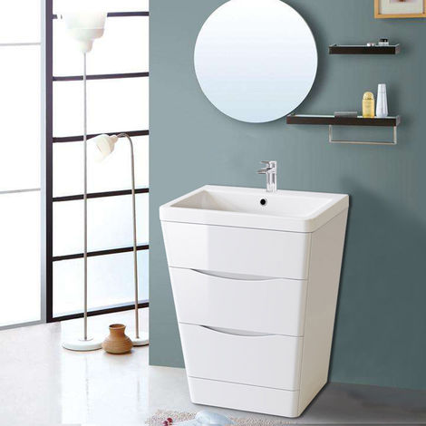 600mm Gloss White 2 Drawer Floor Standing Bathroom Cabinet Storage Furniture Vanity Sink Unit