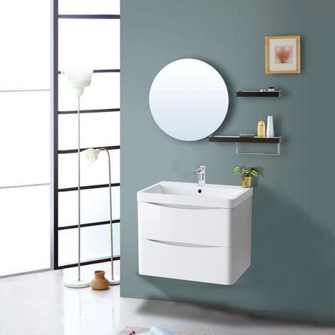 600mm Gloss White 2 Drawer Wall Hung Bathroom Cabinet Vanity Sink Unit with Basin