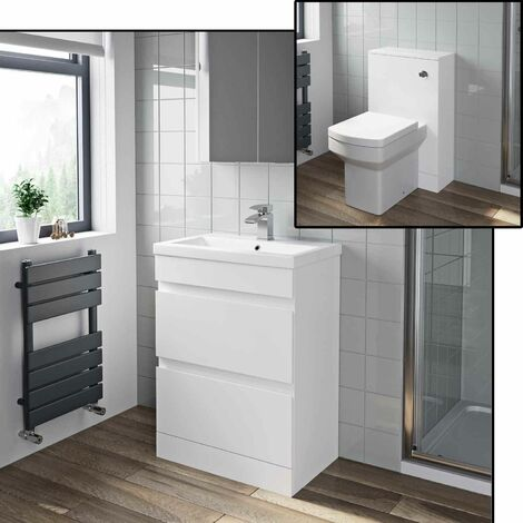 600mm Gloss White Bathroom WC Drawer Vanity Unit Basin Modern Soft Close Toilet