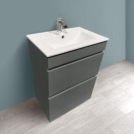 600mm Grey Bathroom Vanity Unit Basin Floor Standing 2 Drawer Cabinet Furniture