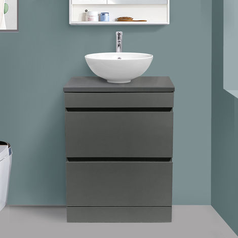 600mm Grey Floor Standing Vanity Sink Unit Countertop Basin Bathroom 2 Drawer Storage Furniture
