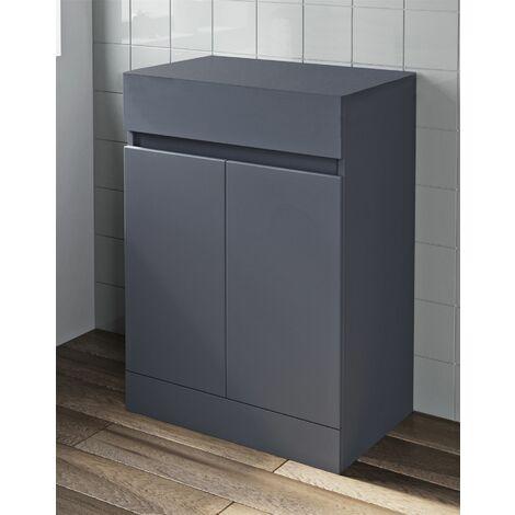 600mm Grey Gloss Bathroom Countertop Vanity Unit Floor Standing Soft Close Doors