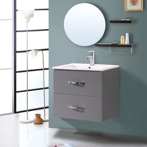 600mm Grey Minimalist 2 Drawer Bathroom Cabinet Organizer Vanity Sink Unit Storage Furniture
