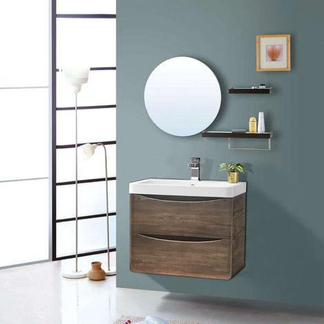 600mm Grey Oak Effect 2 Drawer Wall Hung Bathroom Cabinet Vanity Sink Unit with Basin