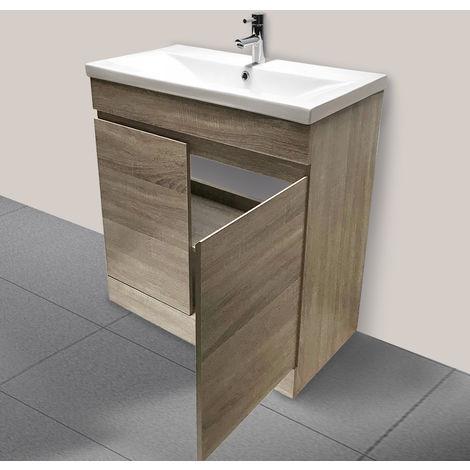 600mm Grey Oak Effect Bathroom Vanity Unit Basin Storage Cabinet Furniture