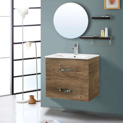 600mm Grey Oak Effect Minimalist 2 Drawer Bathroom Cabinet Organizer Vanity Sink Unit Storage Furniture
