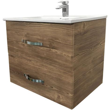 600mm Grey Oak Effect Minimalist Bathroom Cabinet Vanity Sink Unit Furniture