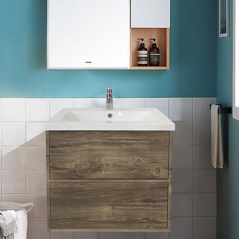 600mm Grey Oak Effect Modern Wall Hung Bathroom Furniture Vanity Unit Storage Cabinet with Basin