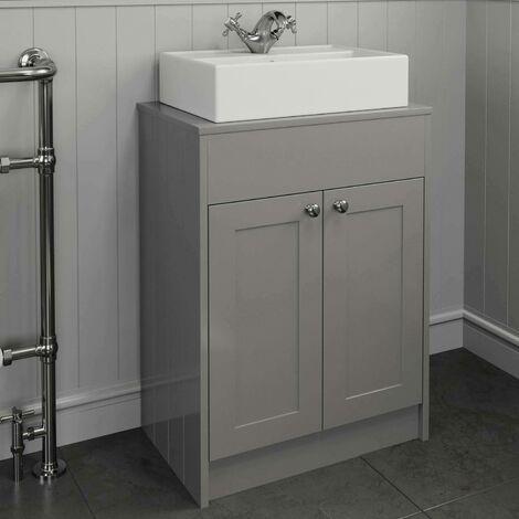 600mm Grey Traditional Vanity Unit Countertop Rectangle Basin Bathroom Furniture