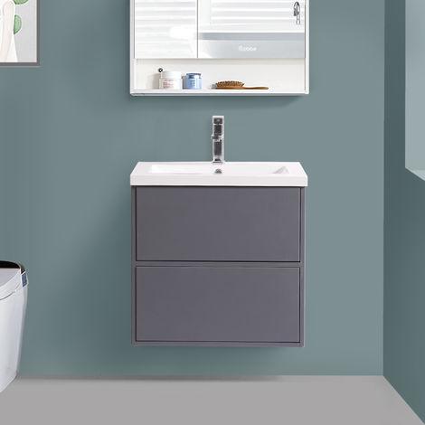 600mm Grey Vanity Unit Ceramic Basin Bathroom Drawer Furniture