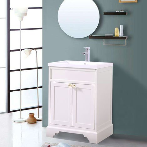 600mm Ivory Traditional Floor Standing Bathroom Furniture Vanity Sink Unit Storage Cabinet with Basin
