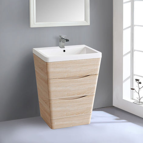 600mm Light Oak Effect 2 Drawer Floor Standing Bathroom Cabinet Storage Furniture Vanity Sink Unit