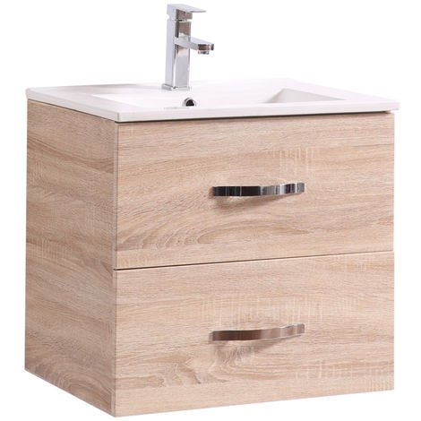 600mm Light Oak Effect 2 Drawer Vanity Unit With Basin