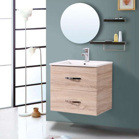 600mm Light Oak Effect Minimalist 2 Drawer Bathroom Cabinet Organizer Vanity Sink Unit Storage Furniture