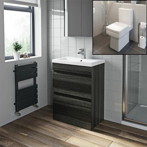 600mm Modern Bathroom Vanity Basin Soft Close Drawer Unit Toilet Charcoal Grey