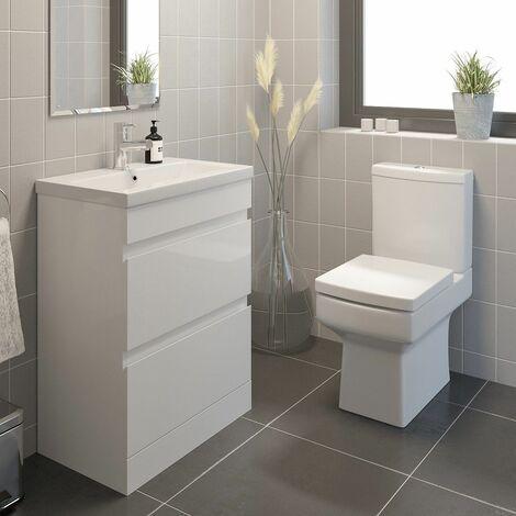 600mm Modern Bathroom Vanity Basin Soft Close Drawer Unit Toilet Gloss White