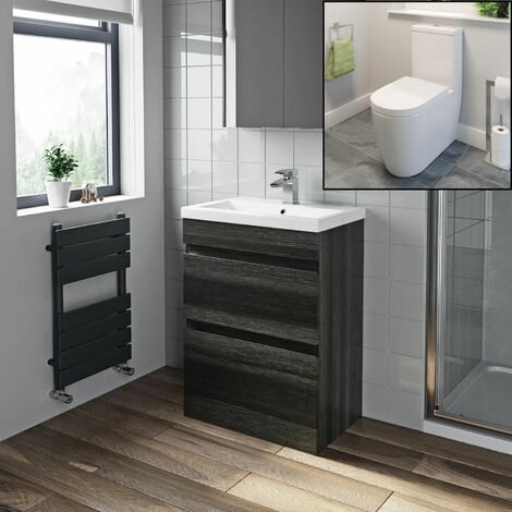600mm Modern Bathroom Vanity Drawer Basin Unit Soft Close Toilet Charcoal Grey