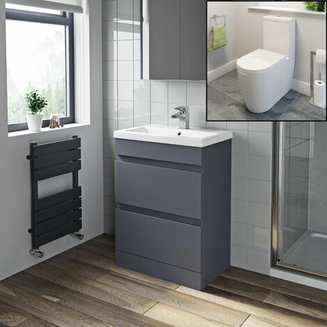 600mm Modern Bathroom Vanity Drawer Basin Unit Soft Close Toilet WC Gloss Grey