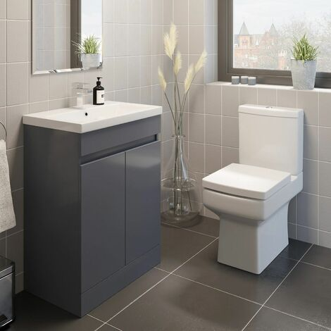 600mm Modern Bathroom Vanity Unit Basin Sink Soft Close Square Toilet Gloss Grey