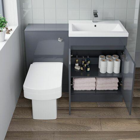 600mm Modern Bathroom Vanity Unit Basin Soft Close Seat Square Toilet WC Grey