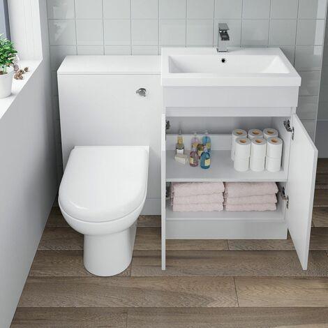 600mm Modern Bathroom Vanity Unit Basin Soft Close Seat Toilet WC Gloss White