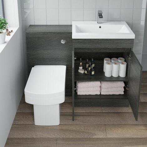 600mm Modern Bathroom Vanity Unit Basin Soft Close Square Toilet Charcoal Grey