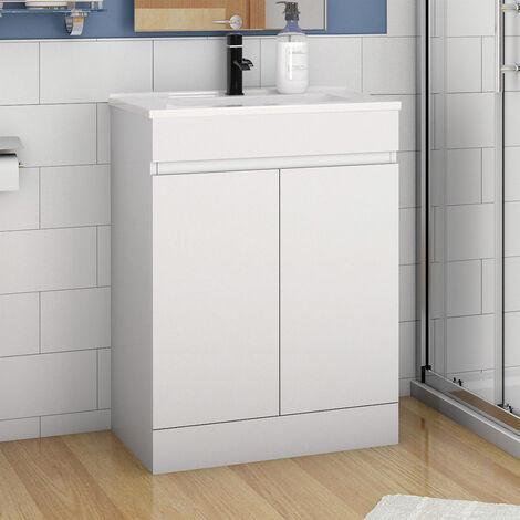 "main image of ""600mm Modern Bathroom Vanity Unit Basin Storage 2 Doors Cabinet Furniture Matte White"""