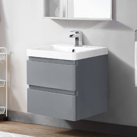 600mm Wall Hung 2 Drawer Vanity Unit Basin Storage Bathroom Furniture Gloss Grey