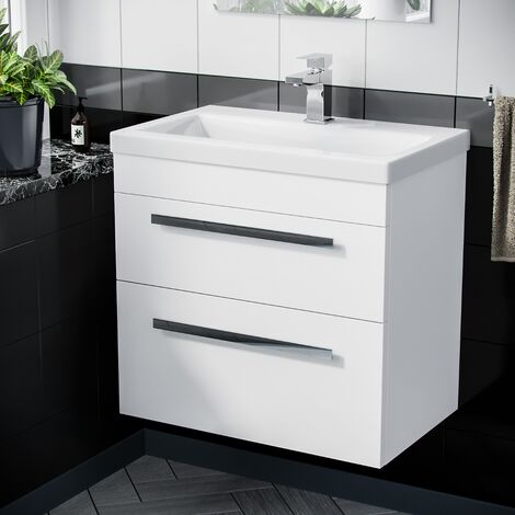 600mm Wall Hung Cabinet 2 Drawer Vanity Unit Gloss White with Ceramic Sink Basin