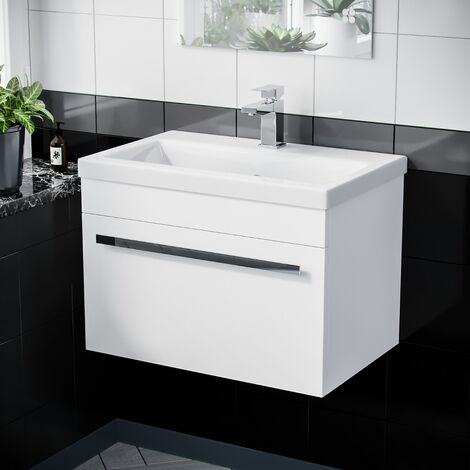 600mm Wall Hung Vanity Unit Cabinet 1 Drawer Gloss White with Ceramic Sink Basin