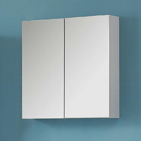 "main image of ""600mm Wall Mounted Bathroom Mirror Cabinet Storage Shelf Vanity Unit MDF Board-White"""