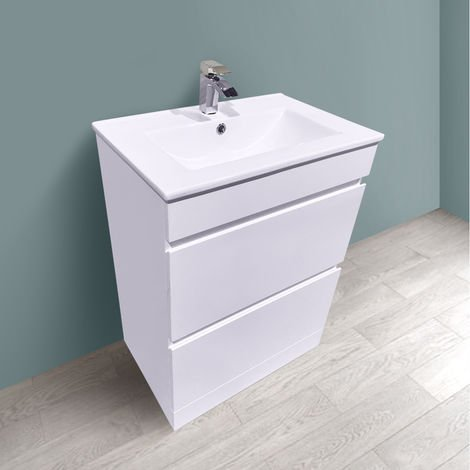 600mm White Bathroom Vanity Unit Basin Floor Standing 2 Drawer Cabinet Furniture