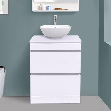 600mm White Floor Standing Vanity Sink Unit Countertop Basin Bathroom 2 Drawer Storage Furniture