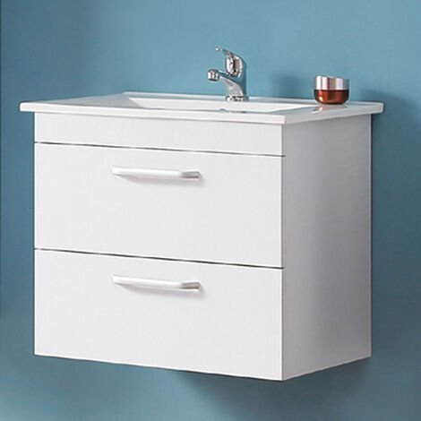 600mm White Vanity Sink Unit Ceramic Basin Wall Hung Bathroom Furniture,2 Drawers