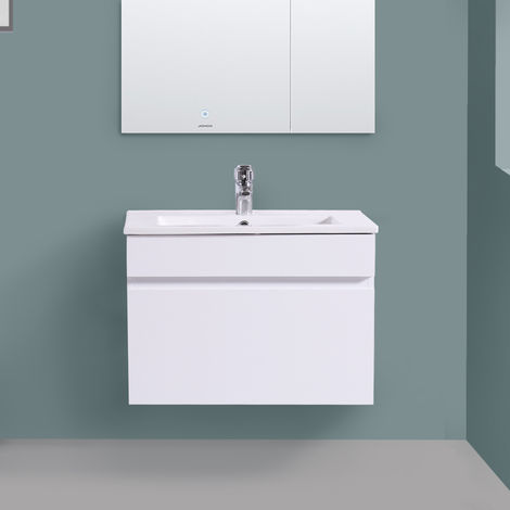 600mm White Vanity Unit Ceramic Sink Basin Bathroom Drawer Storage Furniture
