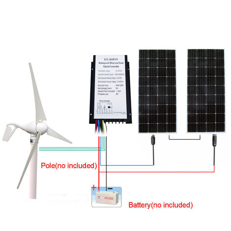 600W/H 24V Hybrid Kit: 400W DC Wind Turbine Generator w/ 200W Solar Panel Home