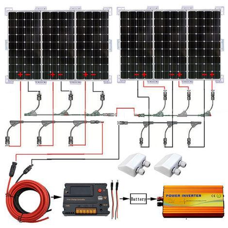 600W Mono Solar Panel kit 3000W 24V-220V inverter 20A solar Controller for villa