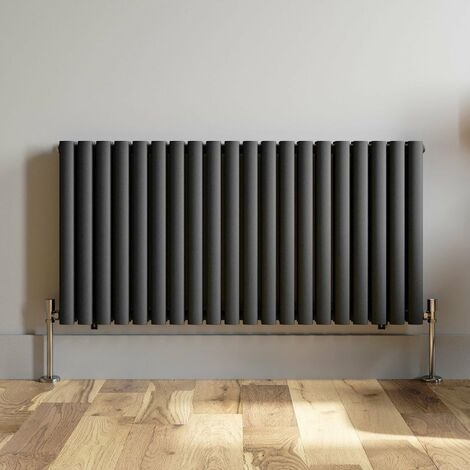 600x1200mm Anthracite Designer Radiator Horizontal Oval Column Double Panel Rad
