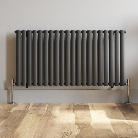 600x1200mm Anthracite Designer Radiator Horizontal Oval Column Single Panel Rad