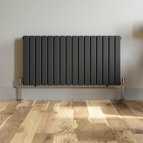 600x1216mm Anthracite Designer Radiator Horizontal Flat Panel Double Panel Rad