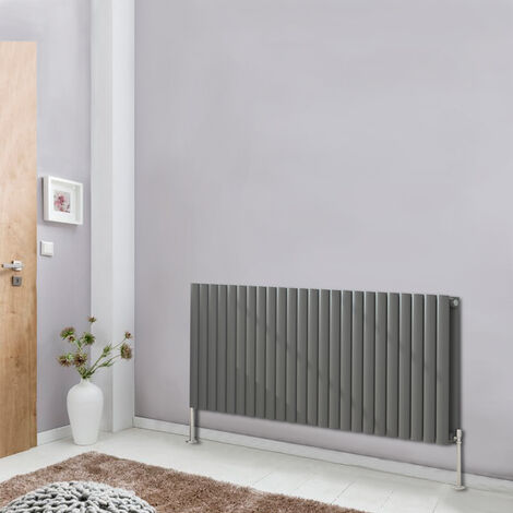 600x1416 Oval Column Designer Radiator Bathroom Central Heating Double Anthracite