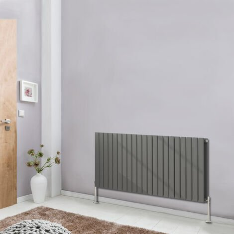 600x1428 Flat Double Panel Designer Radiator Horizontal Column Bathroom Heater Central Heating Anthracite