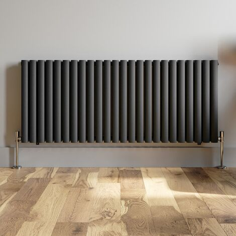 600x1440mm Anthracite Designer Radiator Horizontal Oval Column Double Panel Rad