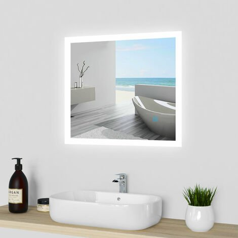 """main image of """"Rectangular Heated Bathroom Mirror with Touch Lights,Wall Mounted,IP44,Vertical or Horizontal"""""""