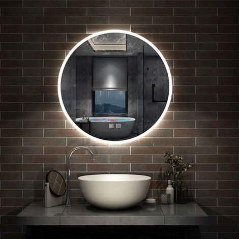 """main image of """"Round Bathroom Mirror with LED Lights,Touch Sensor,Cool White Light,Wall Mounted,IP44"""""""