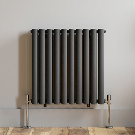 600x600mm Anthracite Designer Radiator Horizontal Oval Column Double Panel Rad