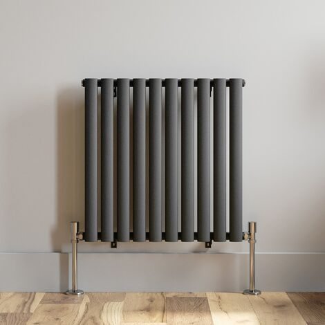 600x600mm Horizontal Oval Column Designer Radiator Horizontal Anthracite
