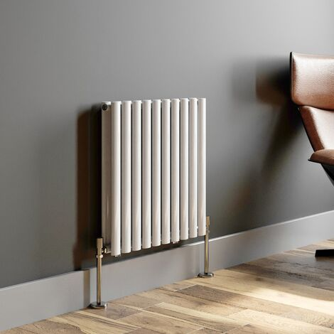 600x600mm Modern Horizontal Radiator Heater Double Panel Oval Tube Column White